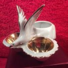 Antique French Porcelain Open Salt Pepper Condiment w white Gold Seagull, p236