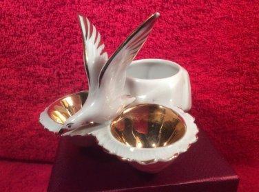 Antique French Porcelain Open Salt Pepper Condiment w white Gold Seagull, p236