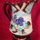 Antique French Majolica Flowers & Begonia Leaves Pitcher c.1800's, fm972