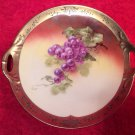 Antique Hand Painted German Porcelain Grapes & Leaves Cabinet Platter Tray, p199