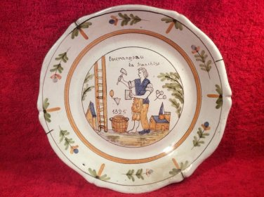 Antique French Faience Masonic Plate w Wall Hanger c1825, ff422