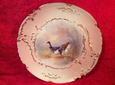 Antique HP Signed Limoges European Game Bird Plate c1894-1906, L259