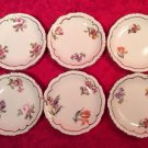 Early Antique French Faience Set of 6 Flowers & Gold Butter Pats, p200
