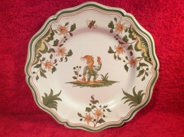 """Antique Vintage French Faience """"Grotesque"""" Moustiers Plate, ff405"""