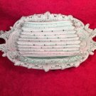 Antique Majolica Art Nouveau Austria 2 Piece Asparagus Serving Set Celedon Green, gm817