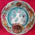 Beautiful Antique French Majolica Asparagus Artichoke Plate c1800's, fm918