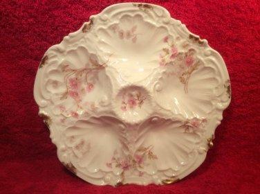 Antique Limoges Porcelain Pink Flowers & Brushed Gold 5 Well Oyster Plate c1891, op239