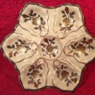Antique Hand Painted Large Gold & Silver Flowers & Leaves Oyster Plate c1883, op247
