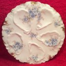 Beautiful Antique Charles Haviland Blue Flowers & Gold Oyster Plate c1900, op229