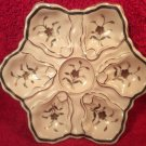 Antique Hand Painted Oyster Plate Gold & Silver Flowers & Leaves c1883, op246