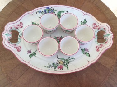 Antique K&G Luneville French Faience Handpainted 6 Egg Cups w Serving Tray c1890, ff423