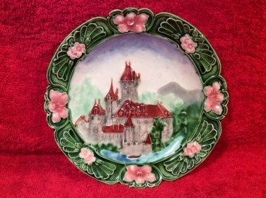 Antique Majolica Art Nouveau Castle Wall Plate Austria c1800's, gm821
