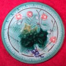 Antique Majolica Wine Leaf & Pink Flowers Plate c1800's, gm835