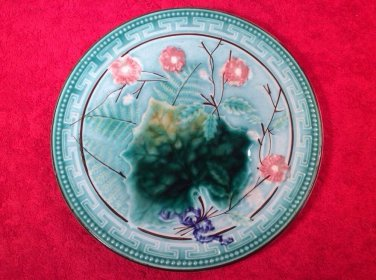 Antique Majolica Wine Leaf & Pink Flowers Plate c1800's, gm835