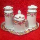 Antique Czech 1920's Porcelain Salt Pepper Condiment Set w Tray, p192