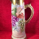 Antique Hand Painted 13.5 inch Tall Porcelain Tankard Grapes Leaves Gold c1880, p208