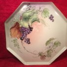 Antique Handpainted Limoges Octagonal Platter Tray Grapes Leaves Spider Web L320