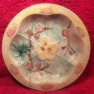Beautiful Antique Majolica Fans & Flowers Plate Dish Bowl, fm980