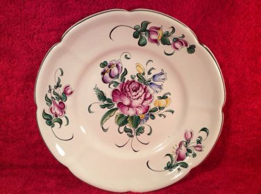 Antique Hand Painted French Faience Rose & Wild Flower Bouquet Plate c.1890-1920, ff322