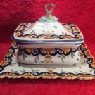 Antique French Faience Hand Painted Covered Sardine Box w Attached Underplate, ff409