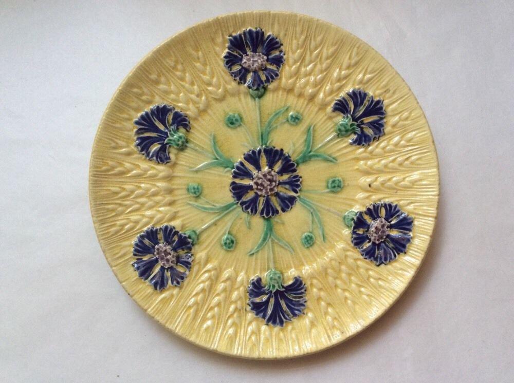 Antique Sarreguemines Blue & Purple Flowers on Yellow Wheat Majolica Plate c1890, fm979