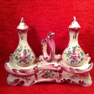 Antique Henri Chaumeil French Faience de L'Est Oil Vinegar Set c1890-1920, ff304