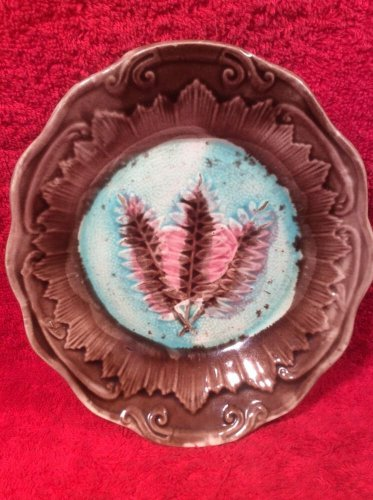 Antique Majolica Fern Leaf Small Platter, fm983