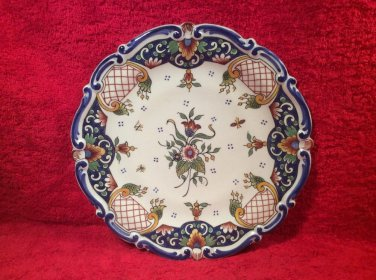 Beautiful Vintage French Hand Painted Faience Plate by Rene Delarue, ff418