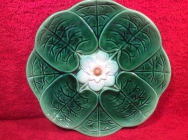 Antique Majolica Lily Flower Plate c1800's, fm982