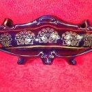 Antique French Faience Majolica Cobalt Blue & Gold Art Nouveau Jardiniere, ff413