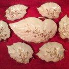 Antique Limoges Open Master & 6 Individual Salts w Gold Paste Flowers c1880-1891, L311
