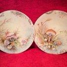 Antique Pair JP Limoges Handpainted Mushroom Plates, L271