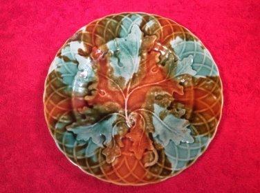 Antique French Majolica Leaf & Basketweave Plate c.1800's, fm907