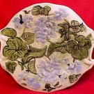 Antique or Vintage Majolica Geranium Flower Tray Platter Green Yellow Blue fm741