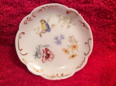 Antique Hand painted Haviland Limoges Butter Pat Bird & Flowers w Gold c.1888, L290