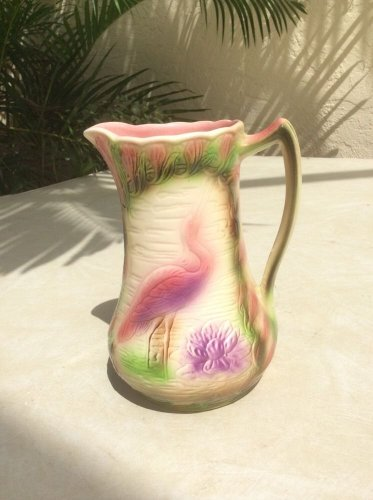 Beautiful Vintage French Majolica Krane & Water Lily Pitcher, fm909