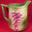 Beautiful Antique Vintage French Majolica Grapes & Leaves Pitcher, fm931