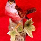 Vintage Majolica Red Breasted Robin Bird on Tree Stump with Leaves c.1940-1960, fm851