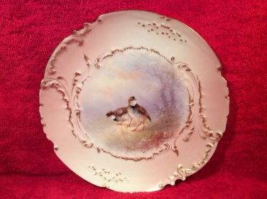 Antique Hand Painted Limoges Quail Game Bird Plate c.1894-1906, L257