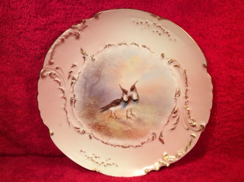 Hand Painted Limoges Bird Game Plate