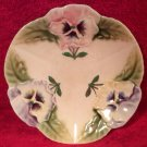 Antique French Majolica Choisy-le-Roi Pansy Flowers Plate c1860-1910, fm902