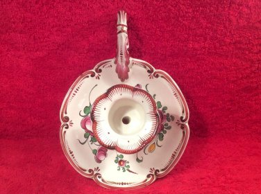 Antique French Faience Chamber Candle Stick Holder Handpainted by Henri Chaumeil, ff399