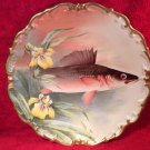 Large Antique Hand Painted Signed Wall Eye Pike Fish Wall Plaque Platter, L303