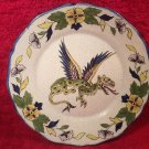 Antique Vintage French Faience Hand Painted Winged Dragon Plate, ff432