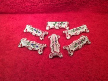 Vintage Set of 5 French Faience Hand Painted Knife Rests, ff447