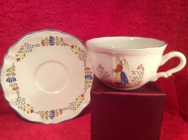 Vintage French Faience Large Breakfast Cup & Saucer, ff383