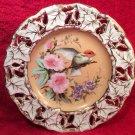 Antique Hand Painted German Porcelain Lace Cut Bird & Flowers Plate c1845-1919, p212