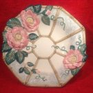 Vintage Fitz Floyd 1996 Large Flowers Footed majolica Bowl, fm881