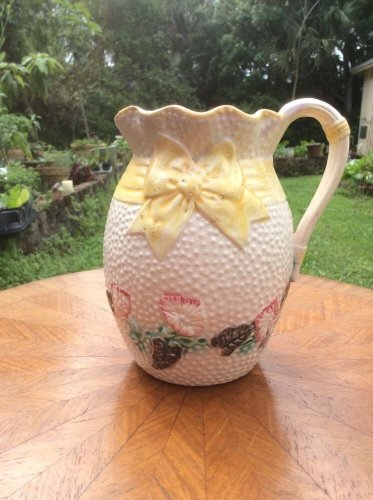 Antique Victorian Bow & Morning Glory Flowers Pitcher c.1800's, fm999