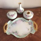Antique Victorian Limoges Hand Painted Dresser Set, L327